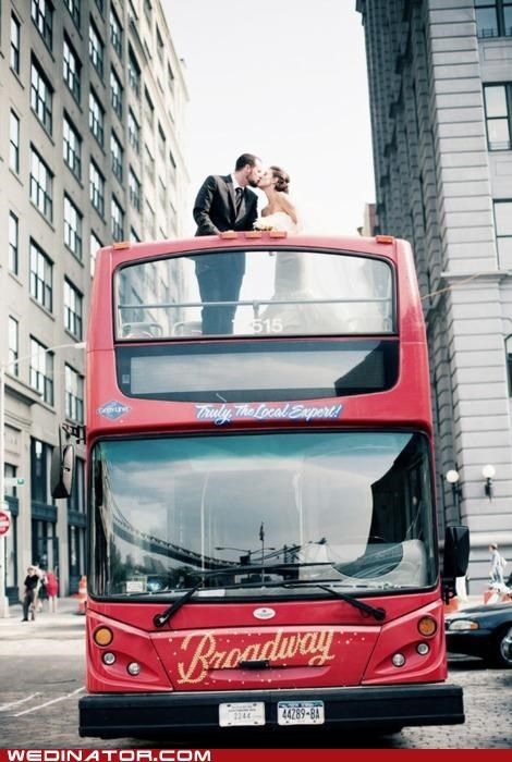 bride,double-decker bus,funny wedding photos,groom,KISS