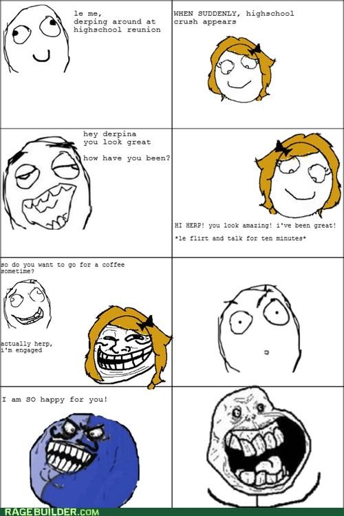 engaged,forever alone,high school,hot girl,i lied,Rage Comics,reunion,troll face