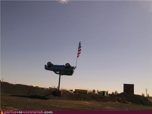 car,patriotic,upside down,wtf
