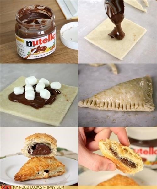 cooking,marshmallow,nutella,puff pastry,smores