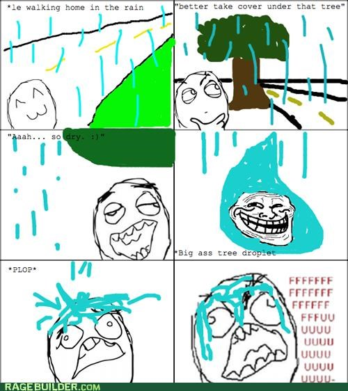 drop,fu guy,Rage Comics,rain,tree