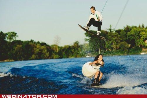 bride,funny wedding photos,groom,water ski