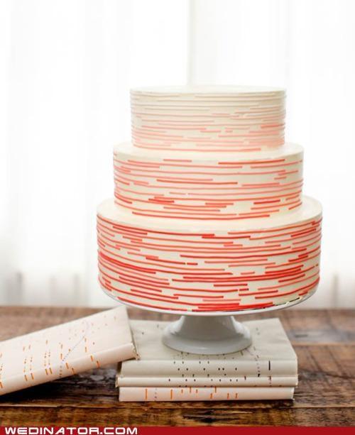 cakes,funny wedding photos,morse code,wedding cakes