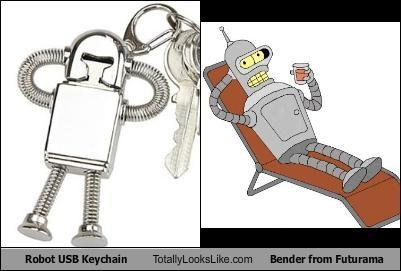TLL Classics: Robot USB Keychain Totally Looks Like Bender from Futurama