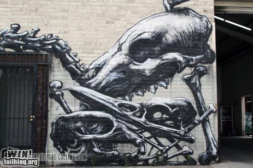 art,bones,grafitti,graveyard,hacked irl,skeleton,Street Art