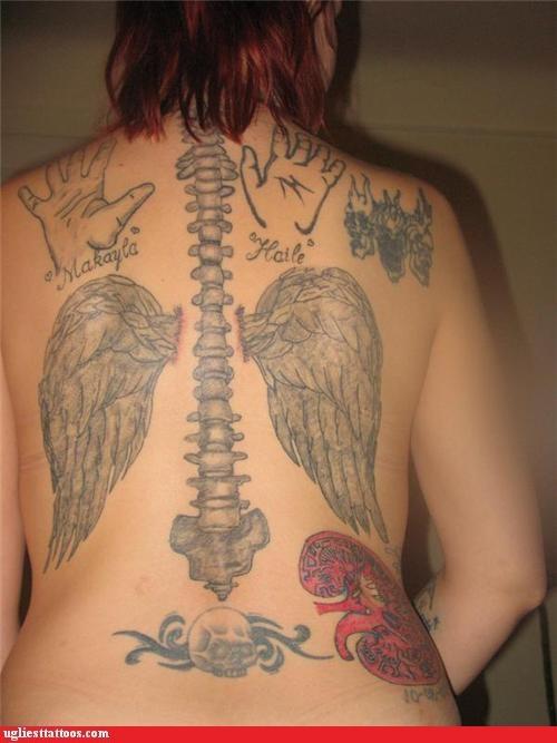 bones,internal organs,names,tramp stamps,wings,words
