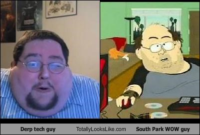 cartoons,cartoon characters,derp tech guy,glasses,South Park,WoW,WOW guy