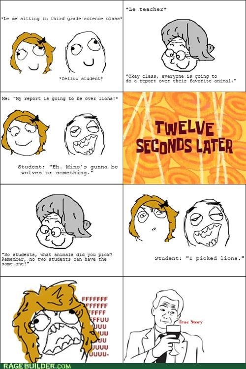 animals,lions,memories,Rage Comics,reports,science class,teacher,true story