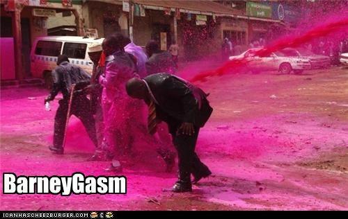 barney,orgasm,protesters,Pundit Kitchen,purple,riots,wat
