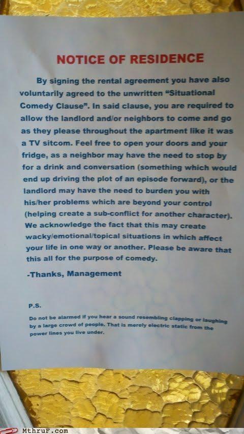 apartment,Laugh Track,rent,sign,sitcom