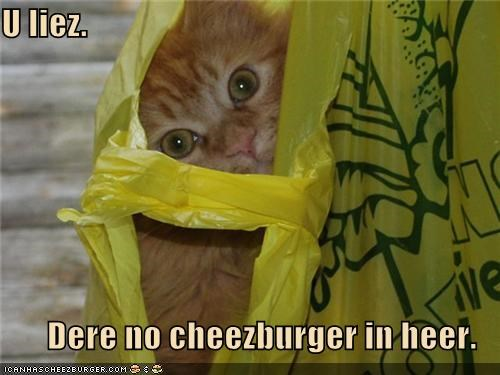 U liez.  Dere no cheezburger in heer.