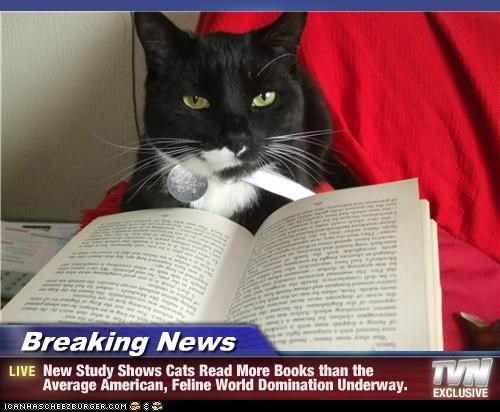 Breaking News - New Study Shows Cats Read More Books than the Average American, Feline World Domination Underway.