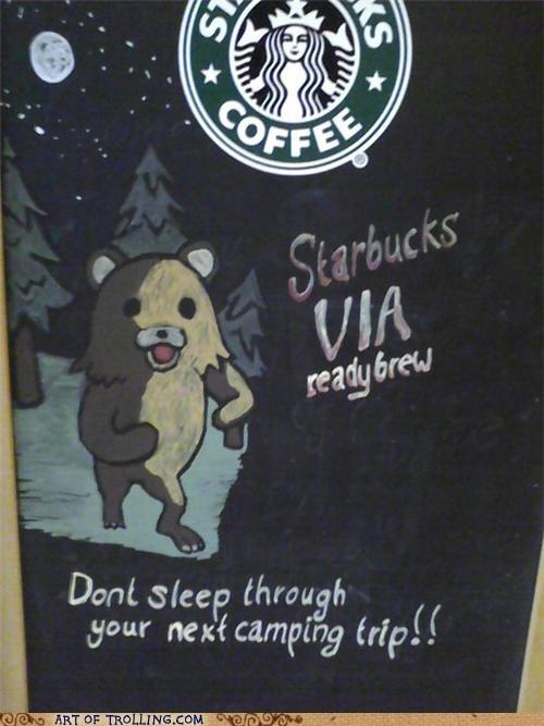camping,coffee,IRL,pedobear,sign,Starbucks