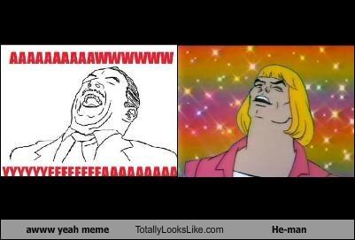 aww yeah,cartoons,cartoon characters,Heman,he man,meme,meme faces,rainbow