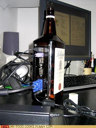 bottle,casemod,computer,glass,hard drive,mod,tower,whiskey