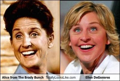 """Alice from """"The Brady Bunch"""" Totally Looks Like Ellen DeGeneres"""