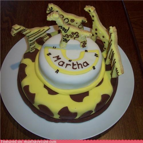 birthday,cake,epicute,giraffes,martha,spots,stripes,swirls