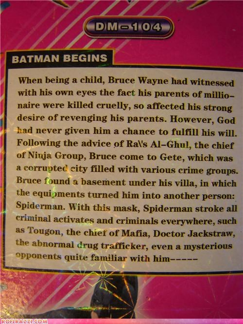 "Chinese Dollar Store Summarizes ""Batman Begins"""