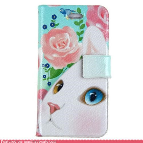 case,cat,cell phone,cover,flowers,iphone