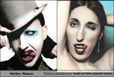 actresses,makeup,marilyn manson,musicians,Rossie de Palma,Spain,spanish,tongue