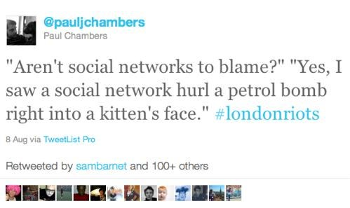 Follow Up of the Day: UK Won't Ban Suspected Rioters from Twitter and Facebook