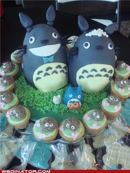 Totoro Wedding Cake and Cupcakes