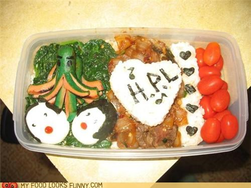 bento,cthulhu,eggs,hot dog,lovecraft,lunch,meal,rice