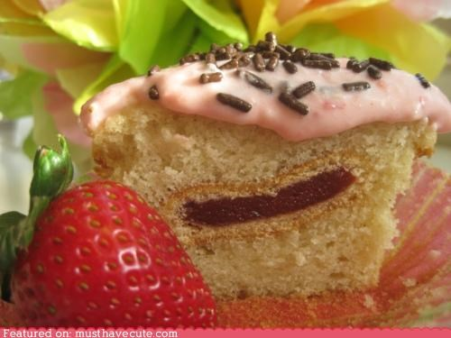 bake it in a cake,cooie,cupcake,epicute,frostign,Newton,strawberry