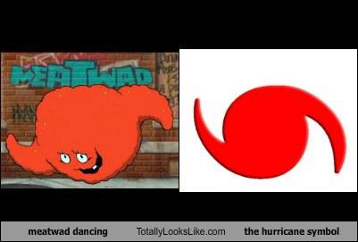 Meatwad dancing Totally Looks Like The Hurricane Symbol
