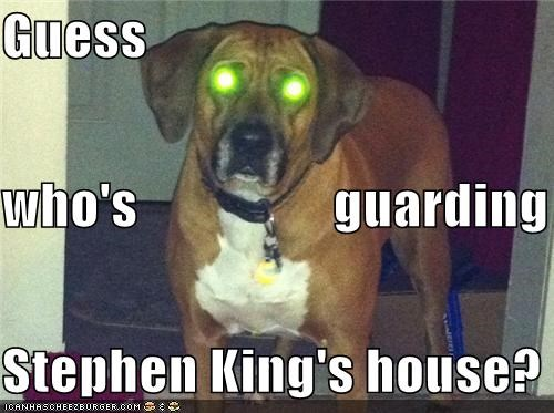 Guess who's                  guarding Stephen King's house?
