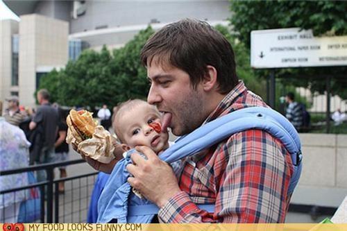 baby,dad,face,ketchup,lick,spill
