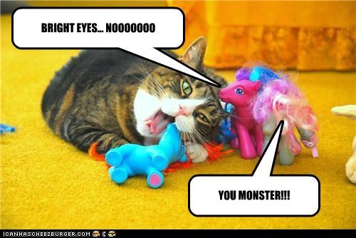 animals,Cats,eating,I Can Has Cheezburger,monster,my little ponies,nom nom nom,toys