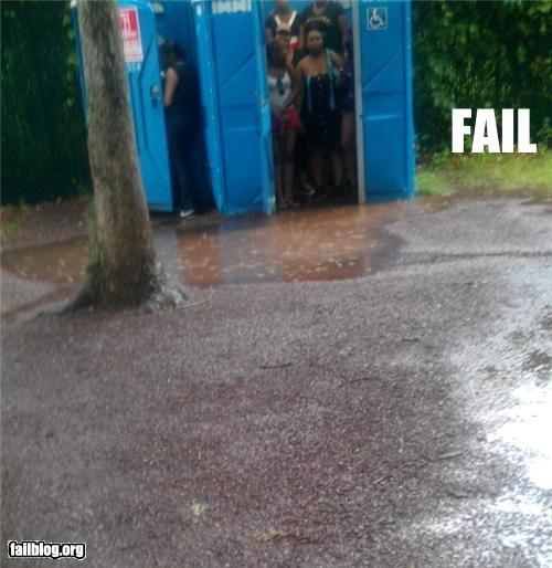 failboat,g rated,holiday,port a potty,rain,toilet