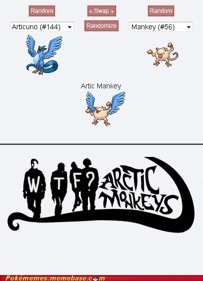 arctic monkeys,articuno,fusion,mankey,Memes