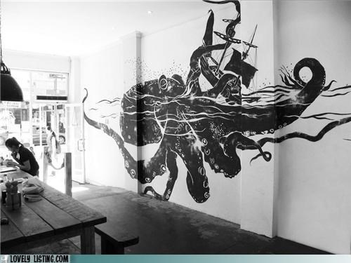 mural,octopus,ship,wall