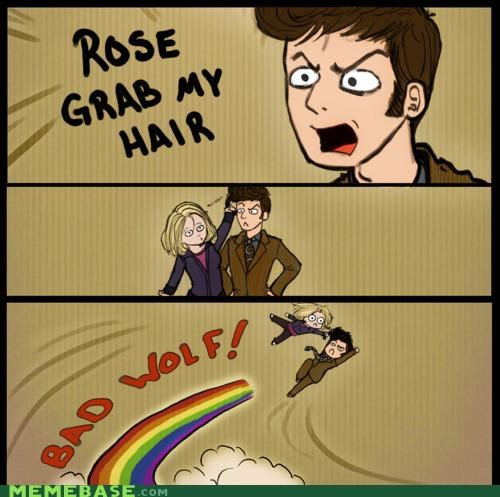 adventure,bad wolf,doctor who,grab,hair,rose