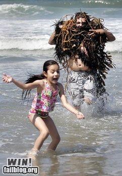 beach,cthulu,dad,monster,parenting,parents,seaweed