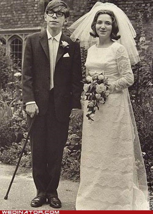 Stephen Hawking on his wedding day