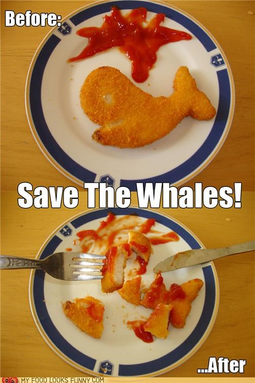 caption,chicken,fish,fried,ketchup,lol,snack,whales