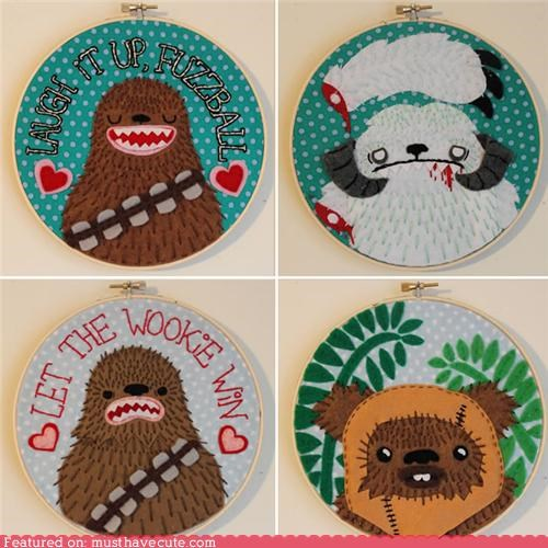 chewbacca,embroidery,ewok,needlepoint,star wars,wookie