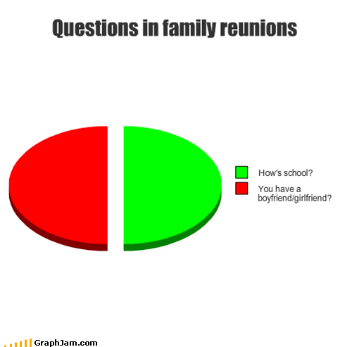 Awkward,family,family reunions,Pie Chart,questions