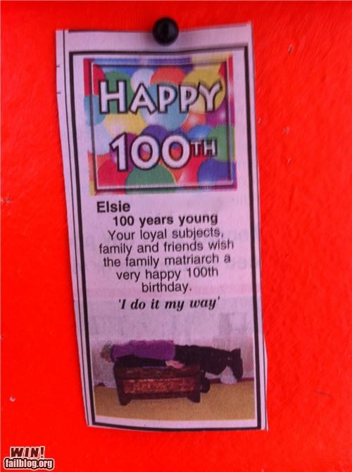 100 years old,birthday,grandma,Planking