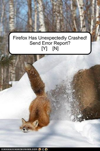 Firefox Has Unexpectedly Crashed! Send Error Report? [Y]    [N]