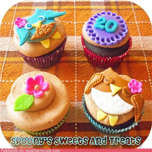 cupcakes,epicute,flowers,numbers,owls