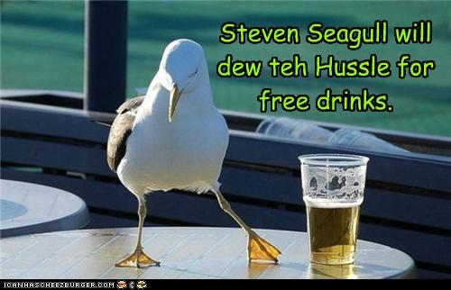 caption,captioned,dance,dancing,drinks,hussle,hustle,pun,seagull,steven segall