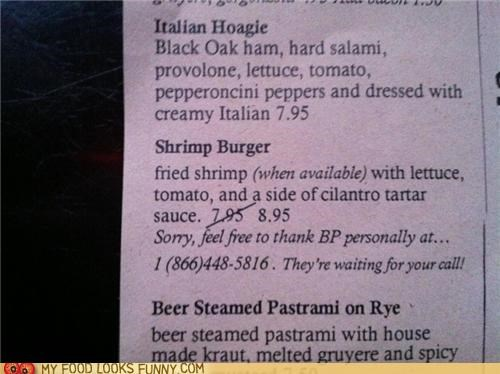 bp,menu,oil spill,phone number,price,shrimp