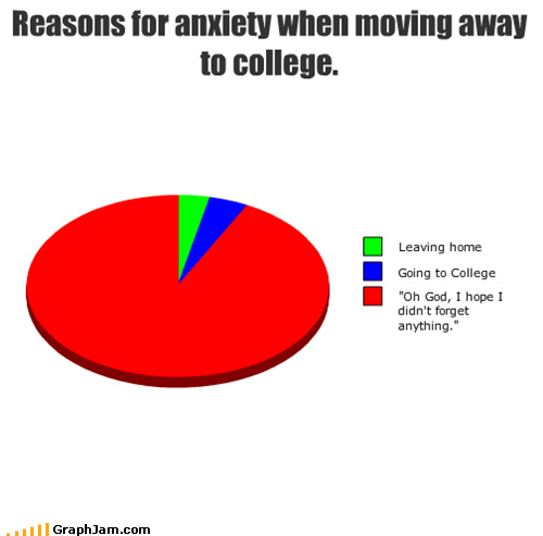 anxiety,college,forgetting,home,leaving,Pie Chart