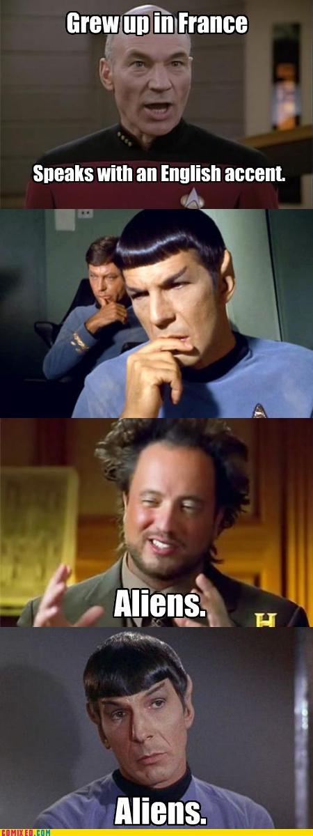 meme,picard,Spock,Star Trek,therefore aliens