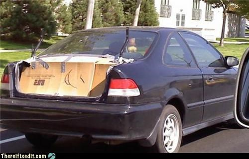 bad puns,cardboard,cars,trunk