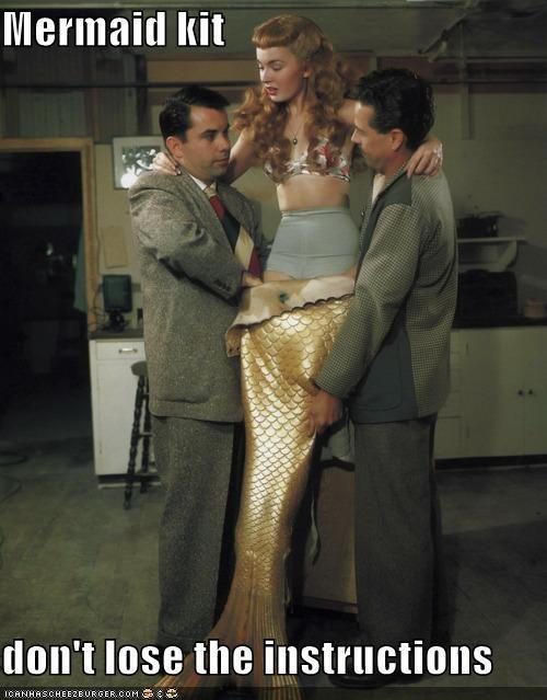 fins,historic lols,insturctions,mermaid,tail,vintage,woman